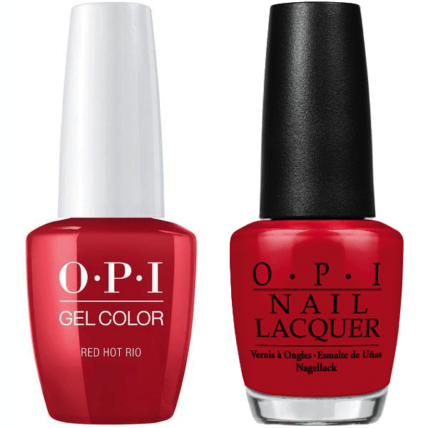 OPI GelColor + Matching Lacquer Red Hot Rio #A70-Gel Nail Polish + Lacquer-Universal Nail Supplies