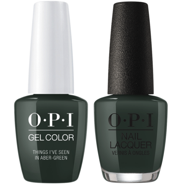 OPI GelColor + Matching Lacquer Things I've Seen In Aber-Green #U15-Gel Nail Polish + Lacquer-Universal Nail Supplies