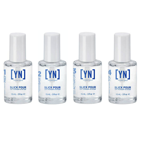 Young Nails Slick pour Liquid Treatment Set Of 4-Dipping Essentials-Universal Nail Supplies