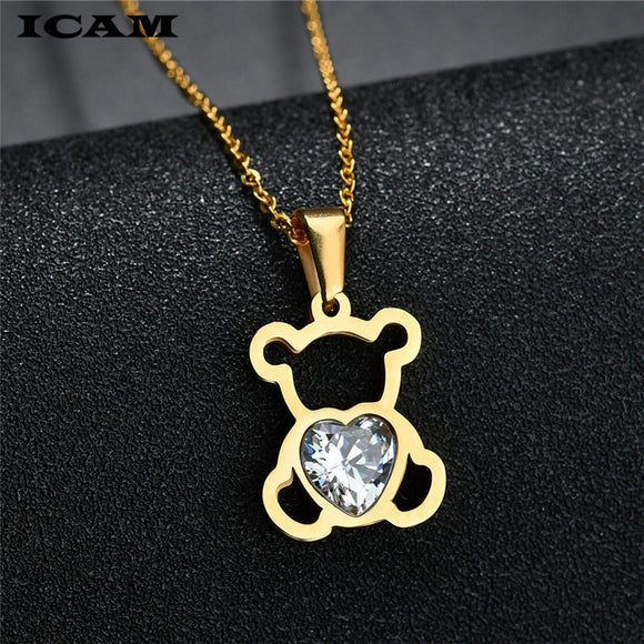 Women's Jewelry | Bear Crystal Heart Necklace