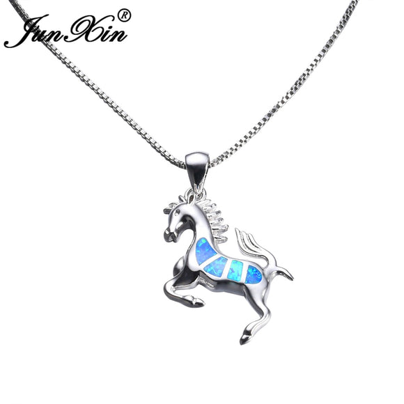 Women's Jewelry | Blue Opal Horse Necklace