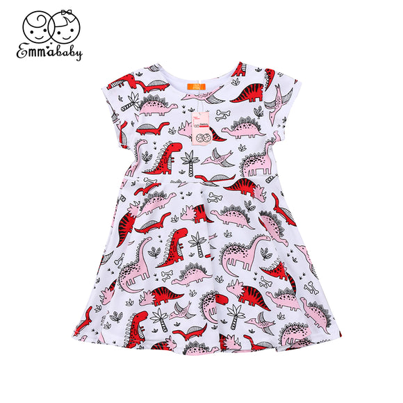 2T-6 | Dress | Pink/Red Dinosaurs