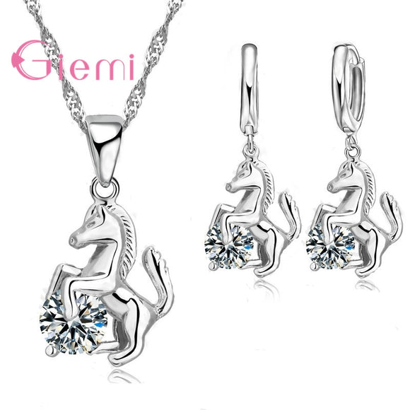Women's Jewelry | Trendy Horse Necklace and Earrings Set