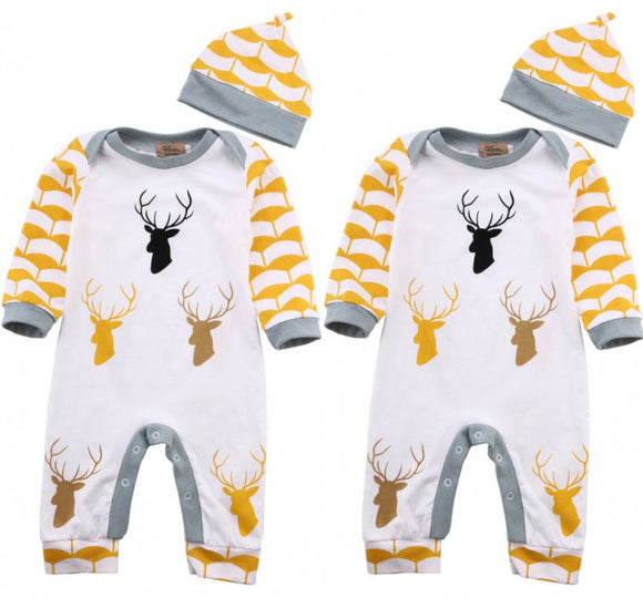 4-24mo | Romper | Antler Deer with Hat