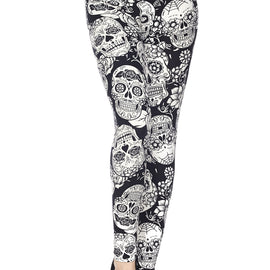 Kids Black & White Sugar Skull Leggings