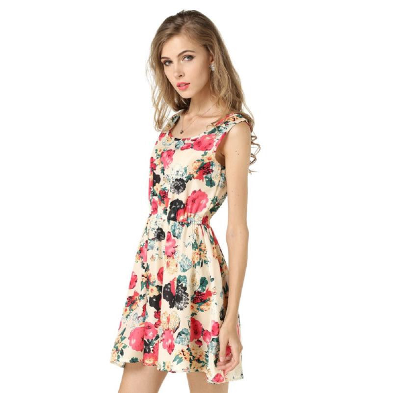 JECKSION 2016 fashionable  Women Summer Chiffon Dress Sexy  Fashion Women Summer Printed Sleeveless Mini Dresses