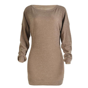 Women's Fashion Dress Strapless Sexy Ladies Off Shoulder Winter Warm Knitting Slim Sweater Dresses #LSW