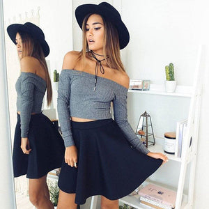 2017 Summer 95% Cotton Slash Neck Sexy T Shirt women tops treroninae punk tee shirt femme fashion solid crop top