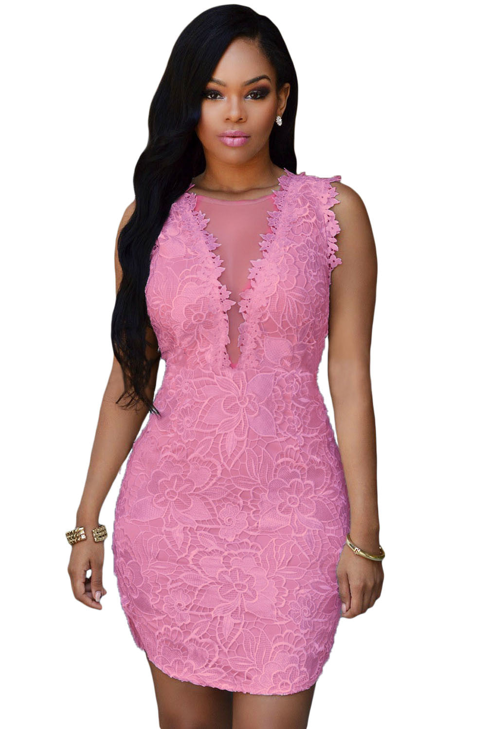 Pink Lace Nude Mesh Accent Dress