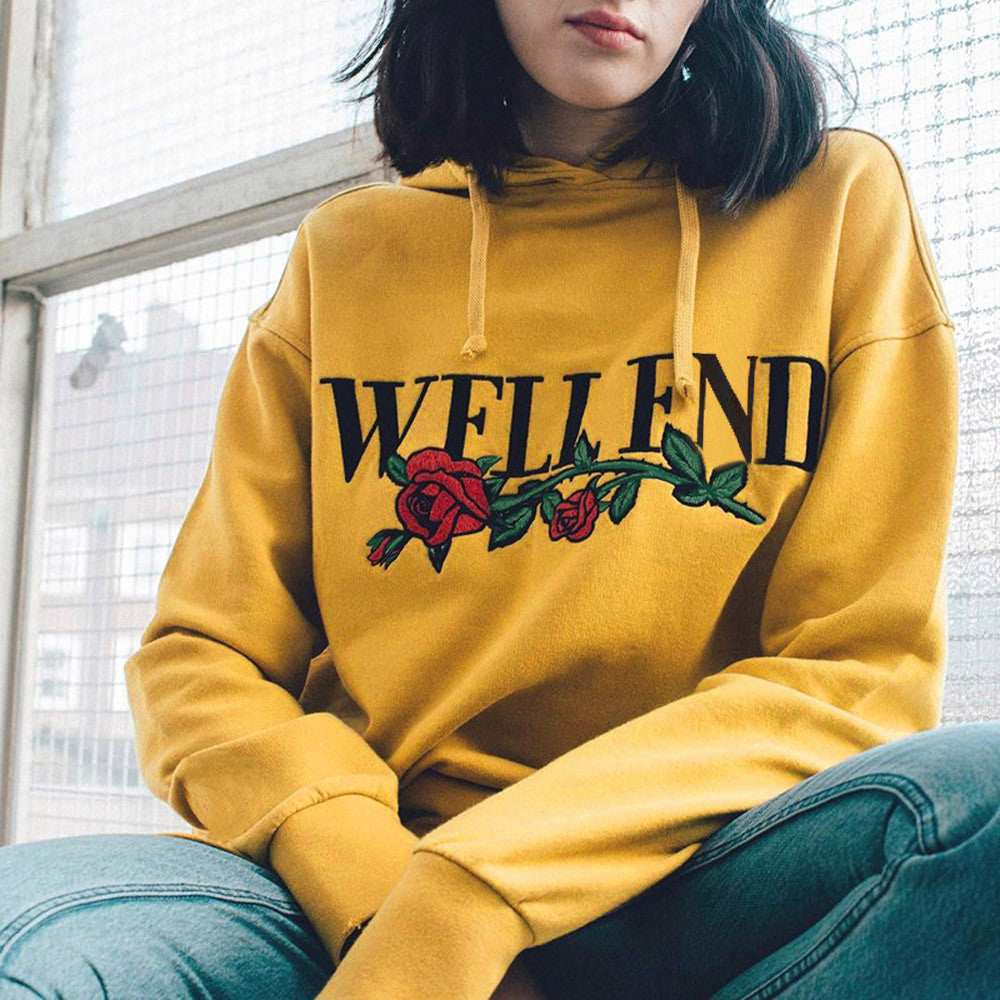 Yellow Sweatshirt 2018 Autumn Womens Casual Flower Letter Print Hoodie Hooded harajuku Pullover Tops Blusas