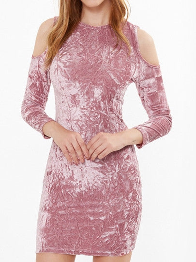 Pink Cold Shoulder Velvet Women's Bodycon Dress