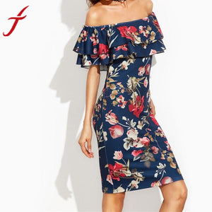 Off Shoulder Summer Dress 2017 Women Short Sleeve Floral Print Ruffle kimono sexy dress Eleagnt sash wrap Mini dresses