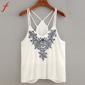 Embroidery Women Cami Crop Tops Flower Printing Strappy Top Camisole Sexy White Shirt Tops For Women cropped feminino 2017