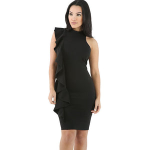 Black Ruffle Trim Body-hugging Mini Dress
