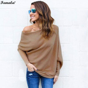 Autumn Sweater Women Tops 2018 Poncho Knitted Sweaters Slash Neck Batwing Sleeve Ruched Solid Loose Women's Sweater Plus Size