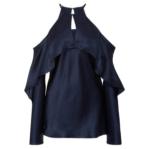 Cotton Cold Shoulder Peter Pan Collar Dark Navy Day Top