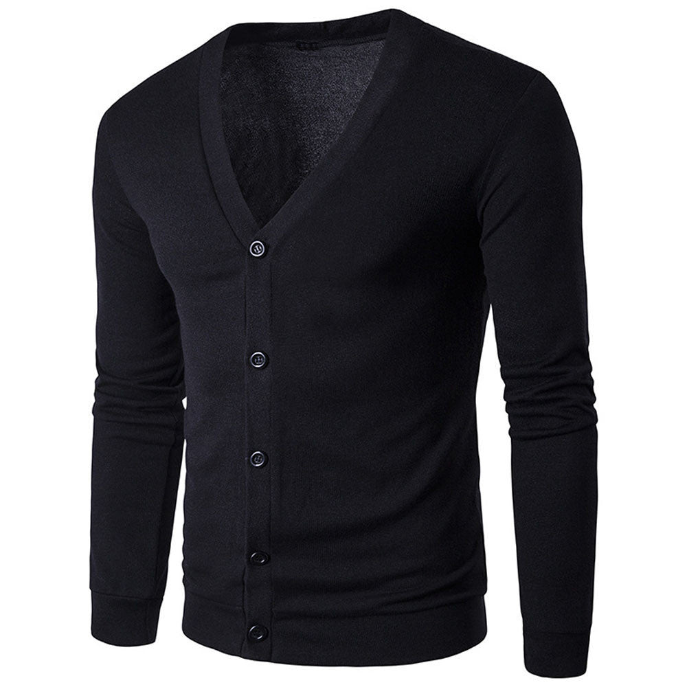 Men Autumn Winter Button V Neck Long Sleeve Knit Sweater Cardigan Coat