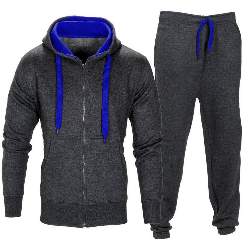 Men Stretchy Trousers Hooded Coat Jacket Pants Jogging Sports Tracksuit Set