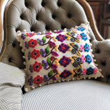 White Olvino with Flower Alpaca hand embroidered cushion cover
