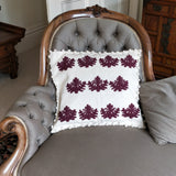 White Olvino with Alpaca Symbol hand embroidered cushion cover