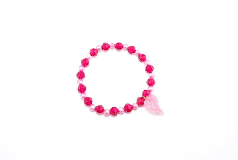 Light and Bright Pink Charm Stretchy Bracelet