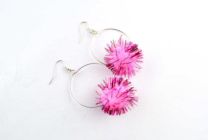 Pink Pom Pom Hoop Earrings