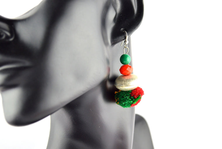 Red and Green Silver Disc Pom Pom Earrings