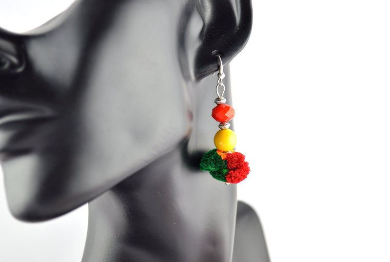 Red and Yellow Pom Pom Earrings