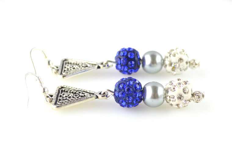 Blue and White Antique Silver Beaded Earring Danglers