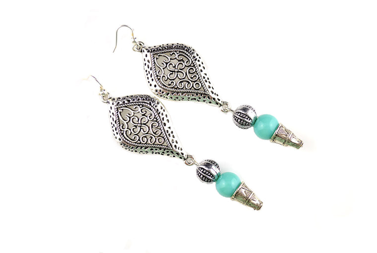 Antique Silver Turquoise Earrings
