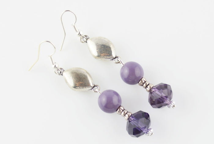 Antique Silver Link & Purple Glass Bead Earrings