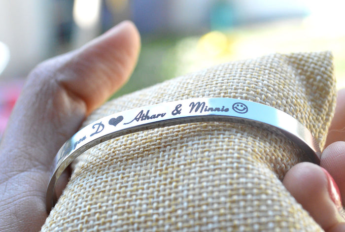 Personalised Engraved Stainless Steel Cuff Bracelet