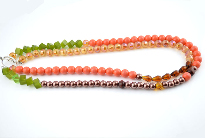 Autumn Fall Green Orange Double Layered Necklace