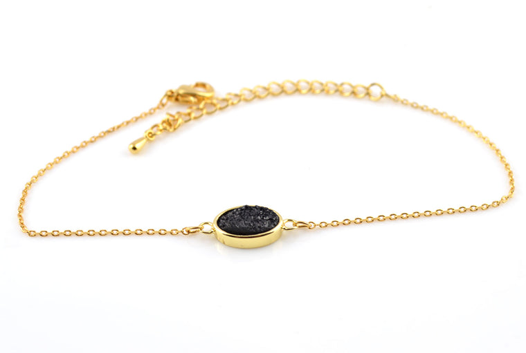 Black Druzy Gemstone Gold Plated Dainty Bracelet