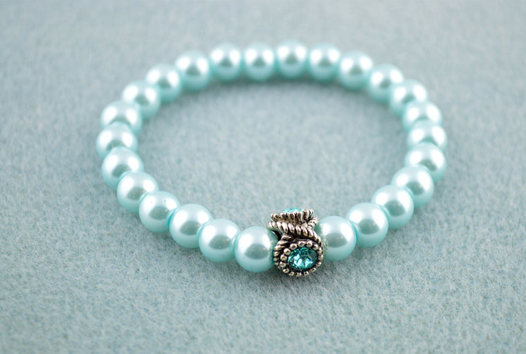 Blue Pearl Stretchy Bracelet