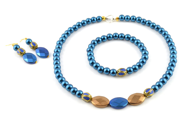 Blue Pearls Jewellery Set