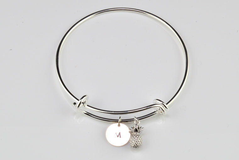 Adjustable Silver Plated Bangle - Pineapple Charm