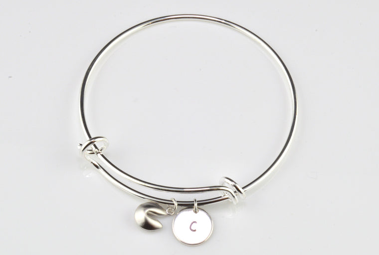 Adjustable Silver Plated Bangle - Fortune Cookie Charm
