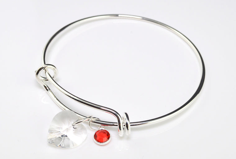 Adjustable Silver Bangle - Swarovski Pendant with Birthstone Charm