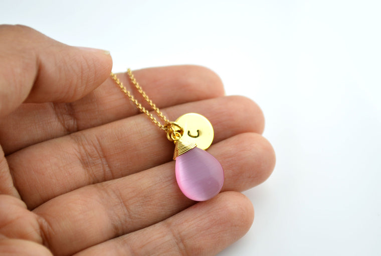 Pink Cat Eye Gemstone Gold Plated Necklace