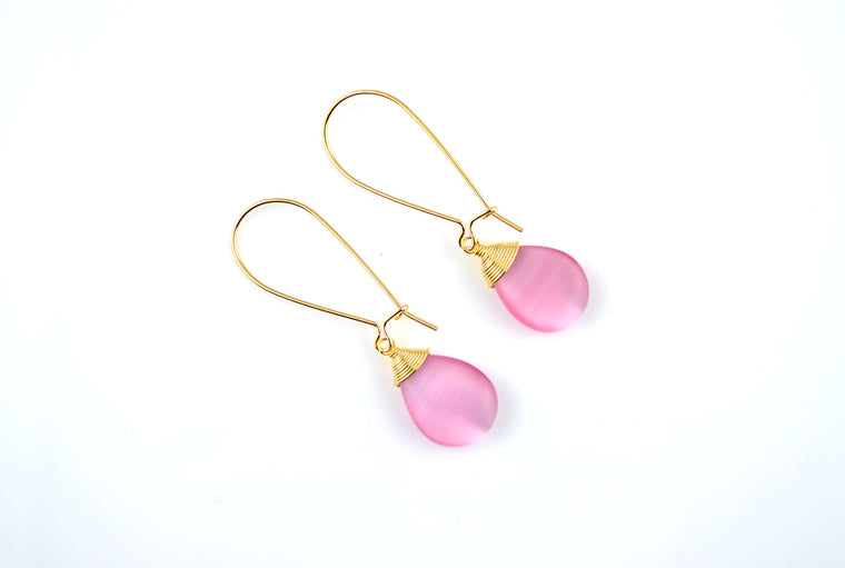 Cats Eye Gemstone Earring - Pink