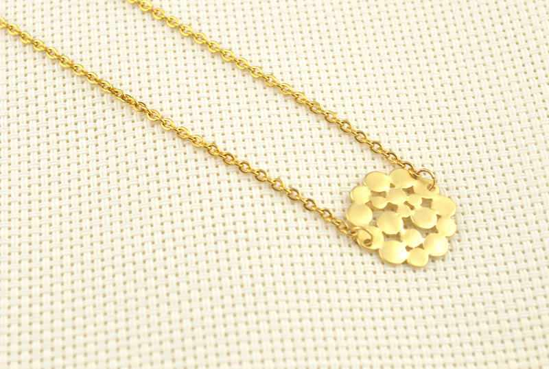 Gold Plated Clump of Circles Pendant Necklace