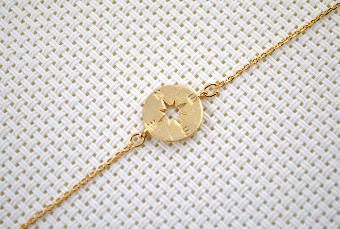 Minimalist Gold Plated Compass Bracelet for Women