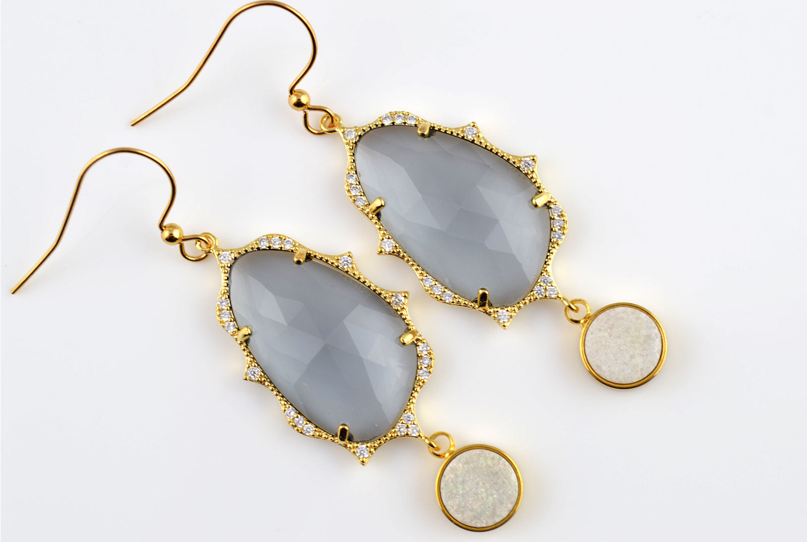 Charcoal CZ Gold Plated Druzy Earring