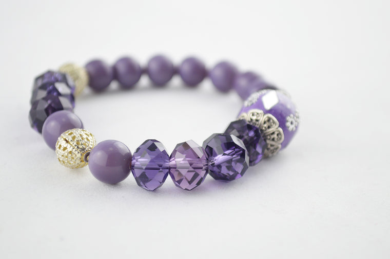 Purple Handmade Indonesian & Glass Faceted Beads Bracelet