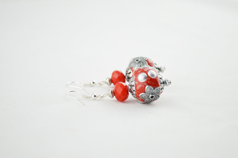 Red Handmade Indonesian Bead & Antique Silver Earring