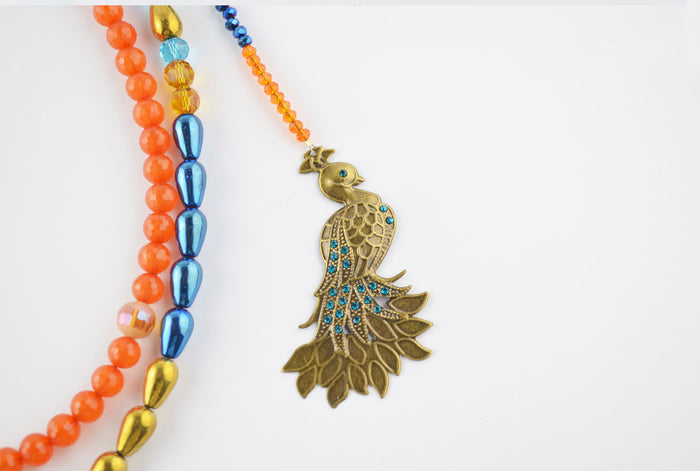 Peacock Necklace with Double Layered Electroplate Glass Beads