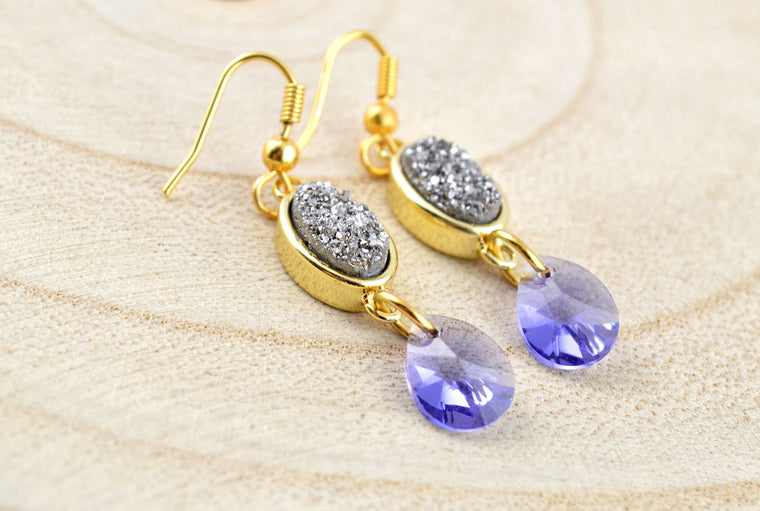 Druzy Gemstone Swarovski Pendant Earrings