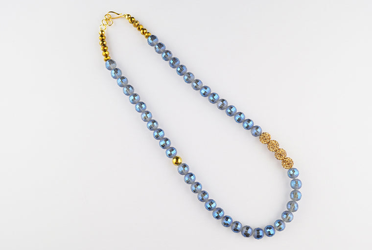 Electroplate Marine Blue and Golden Glass Bead Necklace