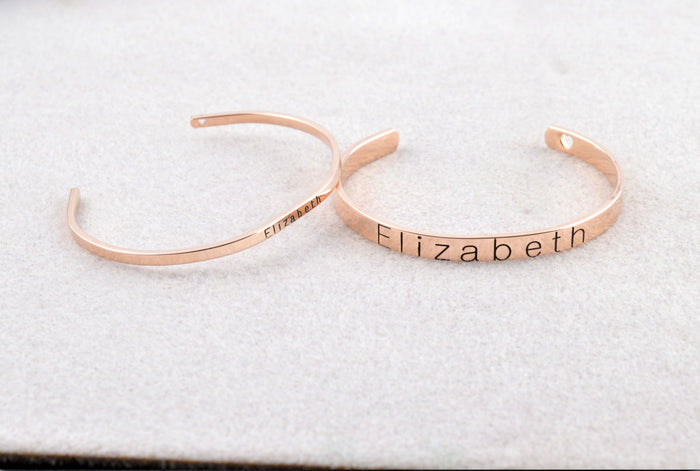 Engraved Rose Gold Cuff Bracelet